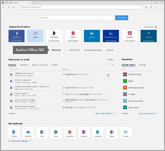 """Snimak ekrana pregledača Edge sa karticom """"Office 365"""""""