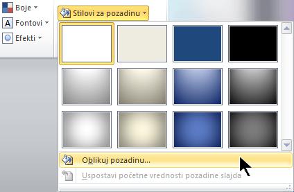"Sa krajnje desne strane kartice ""Dizajn"" izaberite stilovi pozadine, a zatim odaberite ""Oblikovanje pozadine"""
