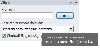 """Uključivanje opcije """"Uključi Bing sadržaj"""" vam daje više rezultata pretrage koje možete odabrati."""