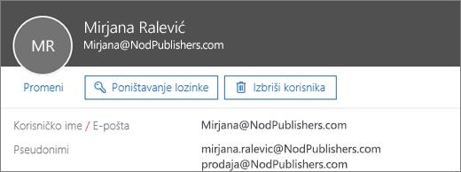 Ovaj korisnik ima primarnu adresu i dva pseudonima.