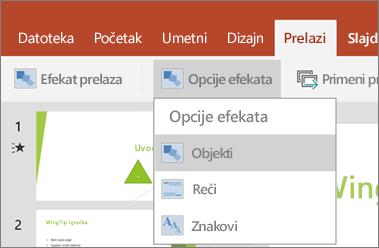 "Prikazuje se prelazi > meni ""Opcije efekata"" u programu PowerPoint za Android."
