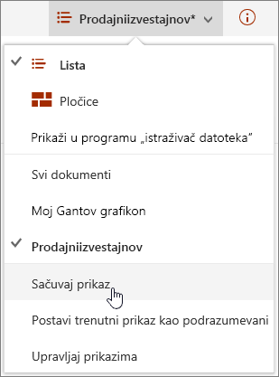 SharePoint Online Prikaz menija Opcije sa Sačuvaj stavka