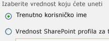 """U oknu sa alatkama Veb segmenta """"Filter trenutnog korisnika"""" izaberite opciju """"Trenutno korisničko ime""""."""