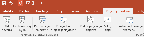 """Prikazuje karticu """"Projekcija slajdova"""" na traci u programu PowerPoint"""