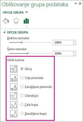 """3D piramidalni i kupasti oblici u oknu zadataka """"Oblikuj grupe podataka"""""""