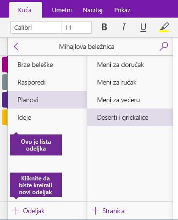 """Snimak ekrana dugmeta """"Dodaj odeljak"""" u programu OneNote"""