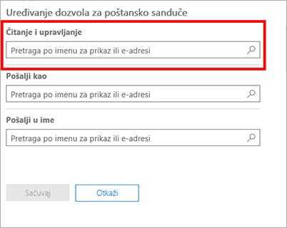 Snimak ekrana: Dodavanje korisnika za čitanje poštanskog sandučeta ovog korisnika i upravljanje njim