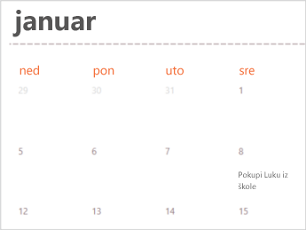 Predložak kalendara u programu Excel za Veb