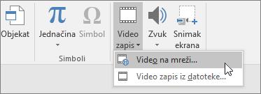 Dodavanje video zapisa na slajdove