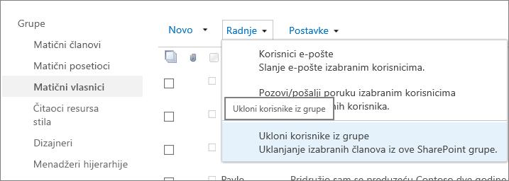 Pogled na traku za brzo pokretanje sa grupama i otvori pomoću Ukloni korisnike iz grupe izabran u meniju Radnje.