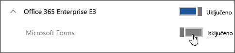 Uključi/isključi da biste omogućili ili onemogućili Microsoft Forms funkciju