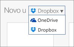 Slika koja prikazuje Dropbox dodat na mesta na kojima možete da kreirate nove datoteke u usluzi Office Online