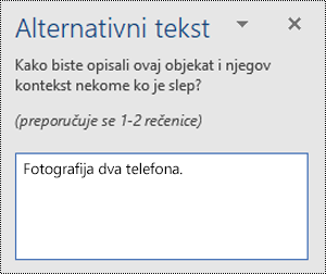 Primer lošeg alternativnog teksta u programu Word za Windows.