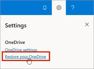 """Meni """"Postavke"""" za OneDrive for Business na mreži sa istaknutim vraćanjem u prethodno stanje"""
