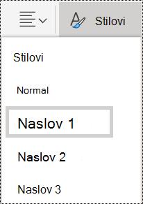 Opcije stilova naslova u usluzi OneNote Online.