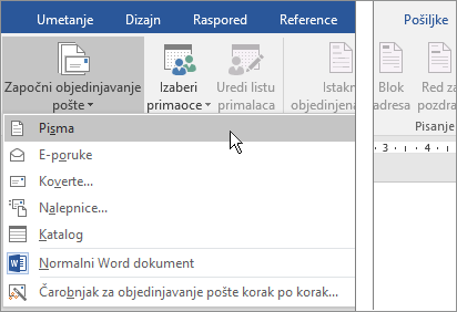 U programu Word, na kartici pošiljke, odaberite stavku Započni objedinjavanje, a zatim odaberite opciju.
