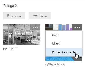 Postavljanje druge datoteke kao pregleda zadatka