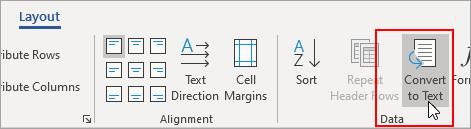 """Opcija """"Konvertuj u tekst"""" markirana je u okviru """"Alatke za tabele"""", na kartici """"Raspored""""."""