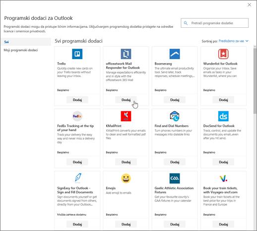 """Snimak ekrana prikazuje stranicu """"Programski dodaci za Outlook""""."""