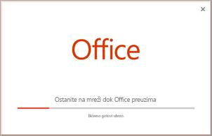 Napredak instalacije sistema Office aplikacije
