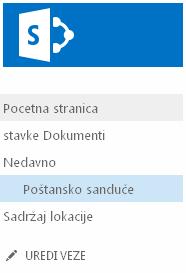 """Veza """"Poštansko sanduče"""" navedena u okviru """"Nedavno"""" u oblasti """"Brzo pokretanje"""""""