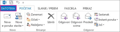 Ovako izgleda Outlook traka na radnoj površini.