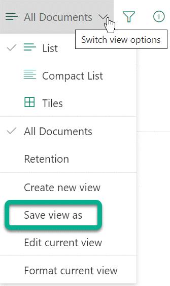 """U okviru """"Opcije prebacivanja prikaza"""", izaberite stavku """"Sačuvaj prikaz kao""""."""