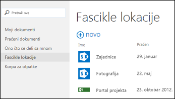 Izaberite Fascikle lokacija na traci radnji sa brzim pristupom u usluzi Office 365 da biste videli listu SharePoint Online lokacija koje pratite.