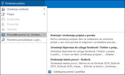 """Otkucajte šta želite da uradite u polje """"Pokaži mi..."""" programu Outlook i dobićete pomoć za taj zadatak"""