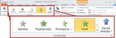 "Kartica ""Animacije"" na traci programa PowerPoint 2010"