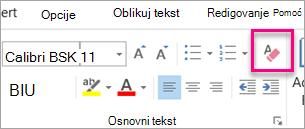 Obriši sve oblikovanje ikona je markirana na kartici poruka