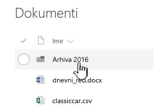SharePoint Online biblioteke dokumenata sa fasciklom istaknuta