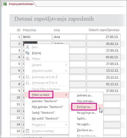 Primena filtera u izveštaju pritiskanjem vrednosti u prikazu izveštaja desnim tasterom miša.