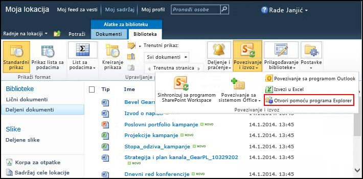 "SharePoint 2010 fascikla ""Deljeni dokumenti"", opcija ""Otvori pomoću programu Explorer"""