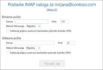 Unesite informacije o serveru e-pošte