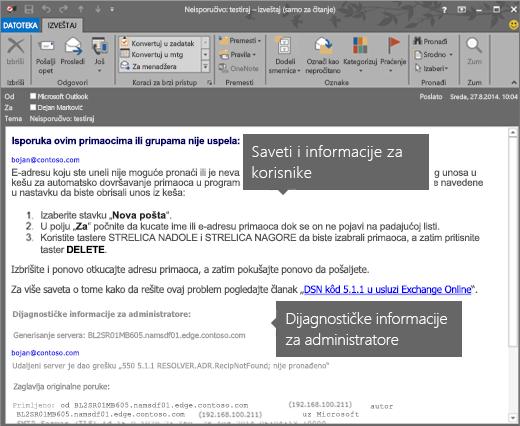 NDR koji prikazuje dijagnostičke informacije o korisniku i administratoru