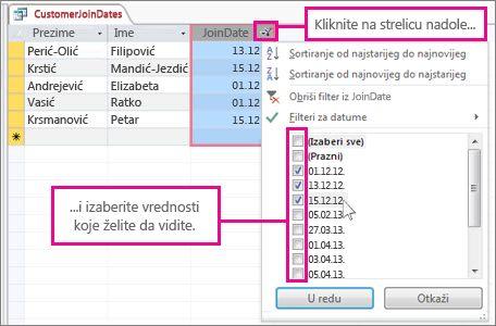 Filtriranje kolone upita u stonoj bazi podataka.