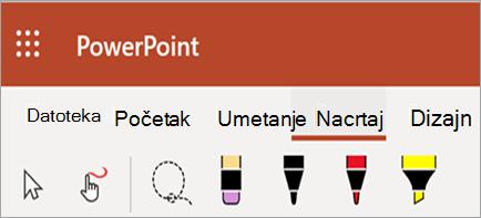 Prikazuje pero, marker i boje