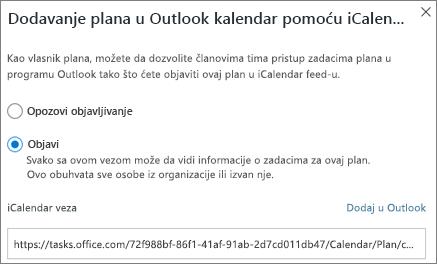 Snimak ekrana Dodaj plan dijalog Outlook kalendara