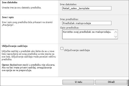 Stranica svojstava predloška liste