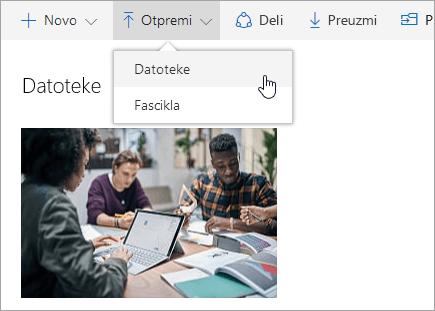 Snimak ekrana koji prikazuje gde se otpremaju datoteke u usluzi OneDrive