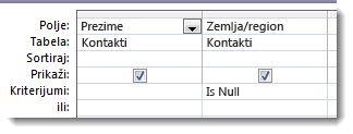 """Slika koja prikazuje polje za kriterijume u dizajneru upita sa kriterijumom """"is null"""""""