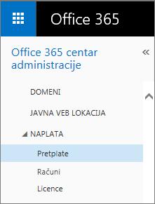 """Veza ka stranici """"Pretplate"""" u usluzi Office 365 Small Business Premium."""