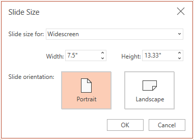 """U dijalogu """"Veličina slajda"""" možete da birate između odnosa širina/visina standardnog ili širokog ekrana, a možete i da birate između položenog ili uspravnog položaja."""