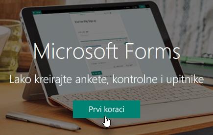 """Dugme """"Prvi koraci"""" na Microsoft Forms matičnoj stranici"""