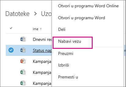 """Snimak ekrana deljenja dokumenta pomoću stavke """"Preuzmi vezu"""""""
