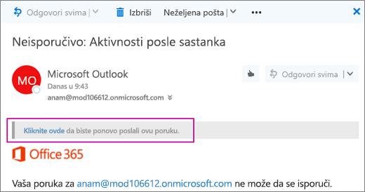 Snimak ekrana prikazuje deo poruku nije moguće isporučiti se sa opcijom da ponovo pošaljete poruku.