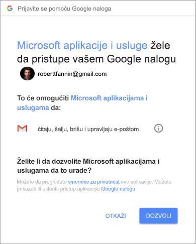 Prikazivanje prozora sa dozvolama da bi Outlook pristupio Gmail nalogu