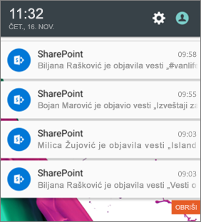 Primer obaveštenja o novostima na mobilnom uređaju