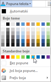 Izbor boje popune za tekst
